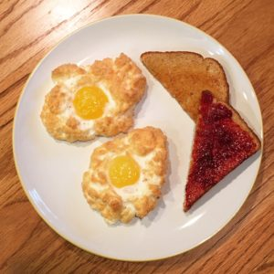 Eggs, Breakfast, Brunch, Cloud Eggs, Toast, Jam, Jelly