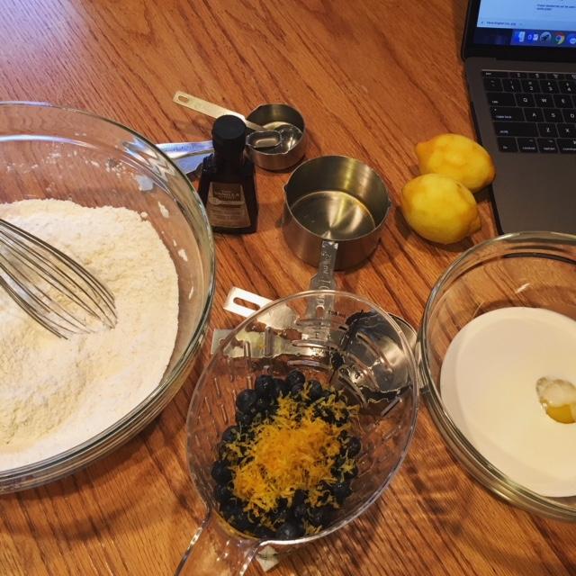 Prepping for Lemon Blueberry Scones