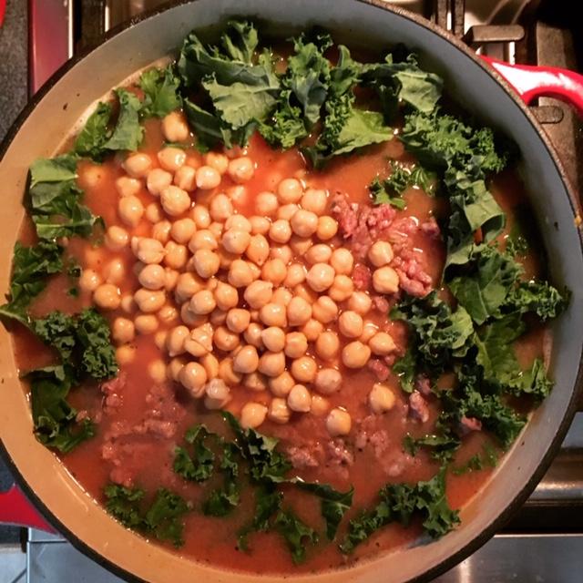 Kale Chickpeas Tomato Soup