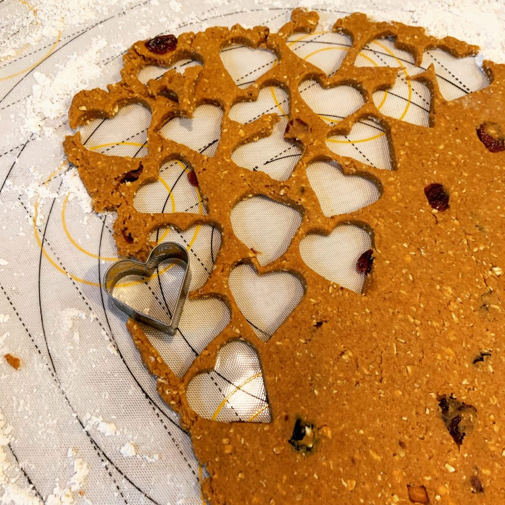 Cutting Out Heart-Shaped Homemade Dog Treats
