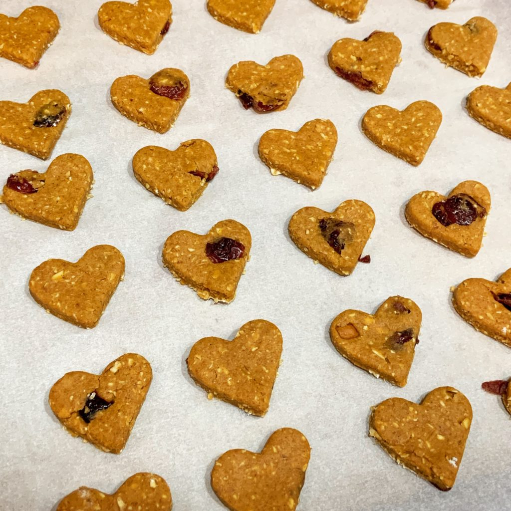 Unbaked Heart-Shaped Homemade Dog Treats