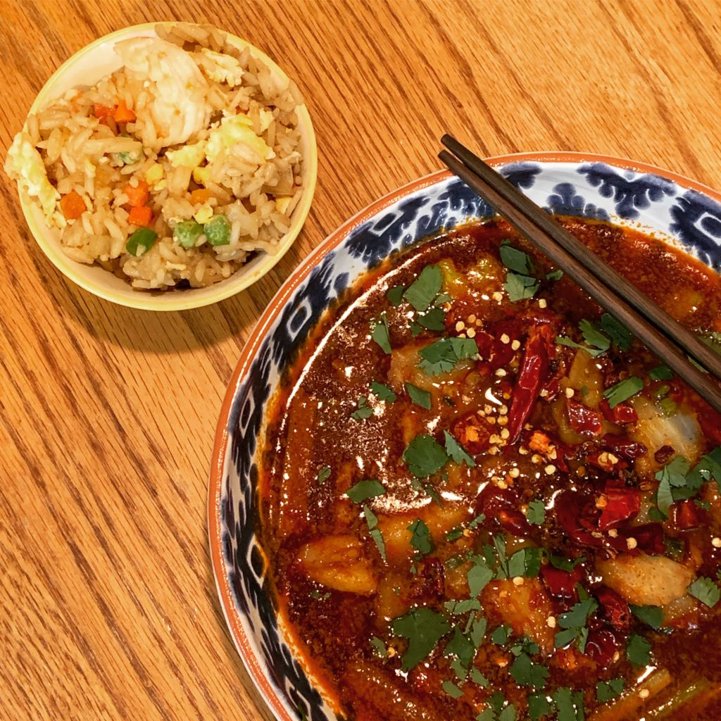 Sichuan Boiled Fish and Shrimp Fried Rice