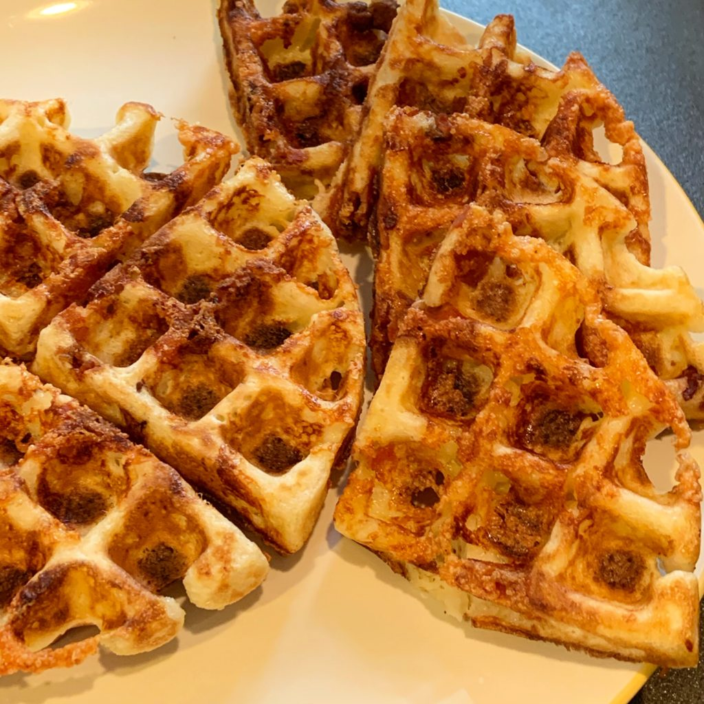Grits Waffles with Bacon and Cheese