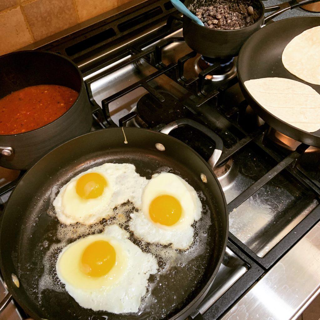 Making Huevos Rancheros