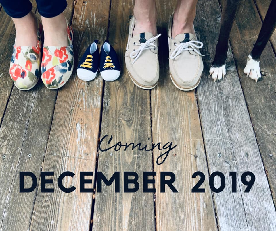 Baby Announcement with Dog Feet