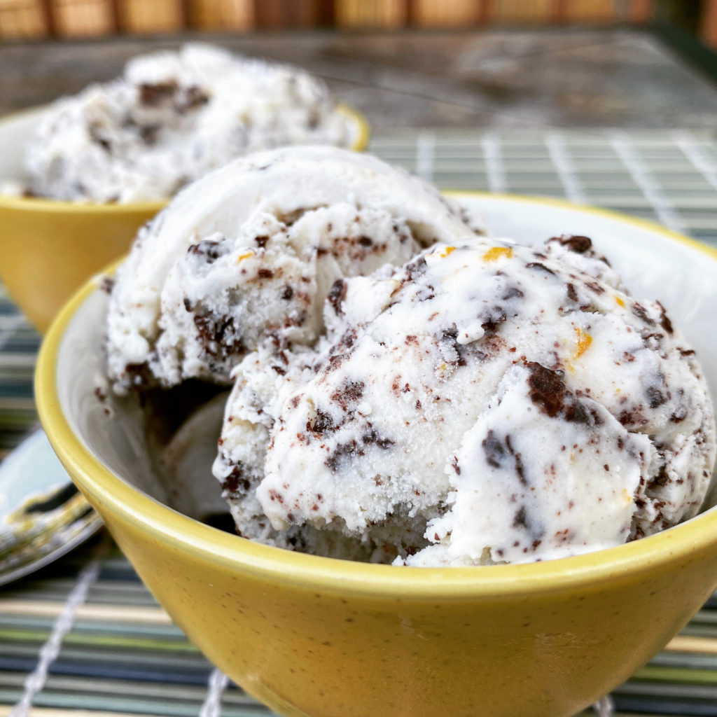 Creamsicle Ice Cream with Chocolate Flakes