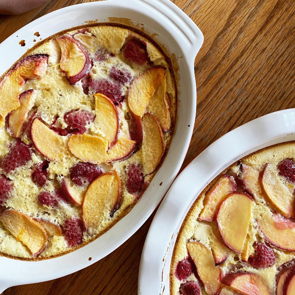 Peach and Raspberry Clafoutis