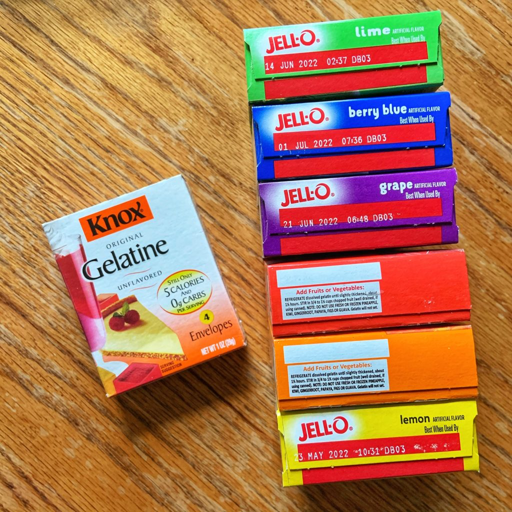A rainbow of Jell-O gelatin
