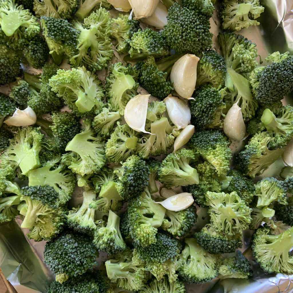 Broccoli and garlic for roasting