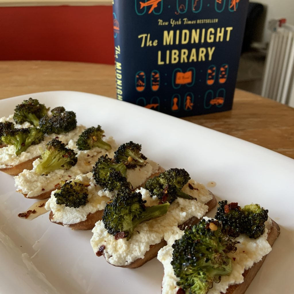 Broccoli toasts inspired by The Midnight Library